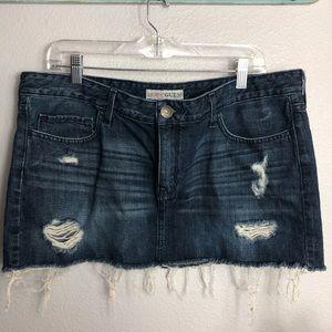 Women's Guess XL jean cut off skirt